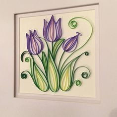 This beautiful, handmade quilling of purple tulips is perfect for spring! It is framed with glass, measuring All photos are watermarked with my business name, but the actual frames do not have anything on them. Quilling Flower Designs, Quilling Butterfly, Quilling Flowers, Origami Flowers, Paper Flowers, Butterfly Dragon, Monarch Butterfly, Paper Quilling Cards, Quilled Paper Art