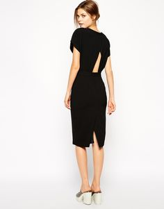 Image 1 ofASOS Pencil Dress in Crepe with Cross Back