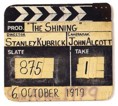 Original full-size production slate from THE SHINING (Stanley Kubrick, USA, 1980) #Kubrick