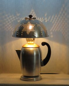 Mme Gadget coffee pot & colander table lamp by 4FLighting on Etsy, $165.00