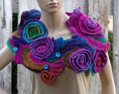 Crochet Scarf Freeform crochet Roses Button Womens scarf von Degra2