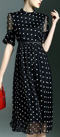White-Cross Print Black Midi Dress