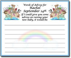 Personalized Noah's Ark Baby Shower Advice Cards