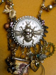Bee Jewelry Steampunk industrial necklace by pinkflamingo61
