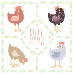 Cute hens and baby chickens vector illustrations