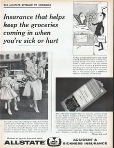 """Description: 1961 ALLSTATE INSURANCE vintage magazine advertisement """"keep the groceries coming in"""" -- The Allstate Approach to Insurance ... Insurance that helps keep the groceries coming in when you're sick or hurt ... Your wife can take a lot of things in stride. ... You're in good hands with Allstate Accident & Sickness Insurance -- Size: The dimensions of the full-page advertisement are approximately 10.5 inches x 13.5 inches (26.75 cm x 34.25 cm). Condition: This original vintage…"""