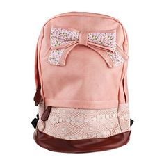 Eforstore Cute Vintage Canvas Floral Bowknot Lace Rucksack Backpack Handbag Schoolbag Bookbag for College School Outdoor Travel for Teen Girls Teens Students Women Ladies (Pink)