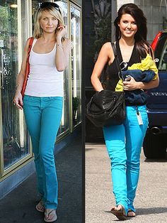 Guess I am not the only gal sporting bright blue jeans! Bright Blue Jeans, Fade Styles, Clothes Horse, Bell Bottom Jeans, Capri Pants, Fashion Outfits, My Style, Board, Clothing
