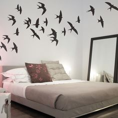 Gorgeous Swallows Wall Sticker perfect for a teen bedroom.