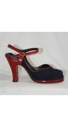 """Holy cow ! 3.5"""", suede w/ red leather trim. Pin-Up Chic 1940s Navy & Scarlet Peep Toe Shoes by vintagevixen"""