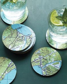 diy map coasters, could select maps of personal interest of give as a gift to a friend