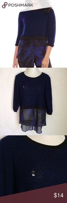 ✨NEW Listing✨Elie Tahari mock layered sweater top Elie Tahari for Design Nation cobalt blue & black crop sweater with mock chiffon layer. **damage to knitting on right chest, not as noticeable when worn with a black cami underneath.** Size L. Top body: 70% polyester/30% acrylic. Bottom panel: 100% polyester. Not interested in trades. Elie Tahari Sweaters Crew & Scoop Necks