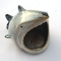"""#Shark Scrub Holder.  Ceramic.  Large mouth to hold your #kitchen sponge/scrub or even bar soap.  Approximately 5.5"""" long, 5"""" wide and 4"""" tall.  New."""