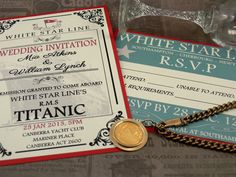 Titanic invitation set, Nautical wedding invitation set, Sea Wedding, Edwardian Wedding Invitation - PRINTABLE. INV-TAN