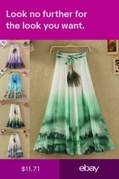 612adefb3d Women Lady Summer Boho Flare Pleated Casual Party Maxi Long Beach Skirt  Dress   skirts   Pinterest