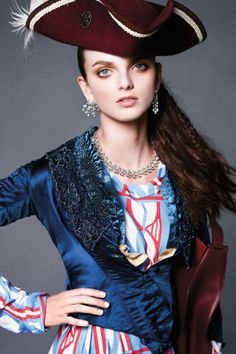Carine Roitfield's December fantasy fashion editorial is all about pirates and princesses: