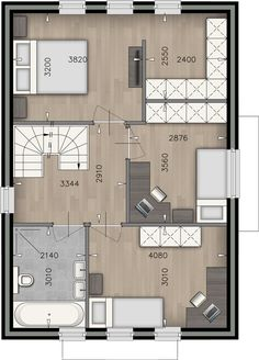 Plattegrond Slaapkamer's | Badkamer Happy New Home, Master Room, Small House Design, Architectural Elements, Future House, Planer, Interior And Exterior, Bungalow, Building A House