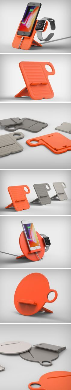 This stand designed by Kyuho, Juan, Joongu & Found/Founded is designed to be flat when folded, but a rather elegant and portable charging solution when opened out, the stand folds out to become a nifty phone charging and display dock as well as a smartwatch charging/display dock.