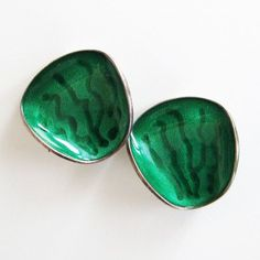 Vintage Sterling Green Enamel Norway Modernist Earrings by Einar Modahl