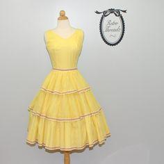 vintage 1950s Yellow party sun dress