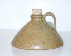 Salt Glazed Miniature Pottery Captain's Flask or Buggy Jug  Seagrove, NC