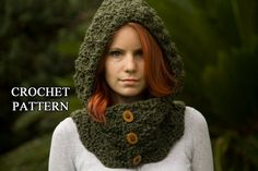 Hooded Cowl, Wood Button Crochet hooded scarf, Olive green from WellRavelled on Etsy. Saved to Etsy Finds. Crochet Hooded Cowl, Crochet Shawl, Crochet Hoodie, Crochet Scarves, Crochet Clothes, Crocheted Hats, Crochet Crafts, Diy Crochet, Knitting Patterns