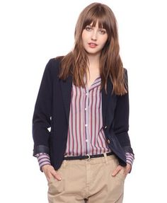 Forever21 chic two button jacket in dark navy, $28.90