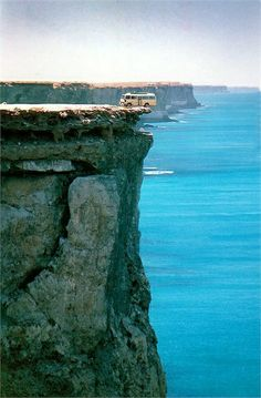 Bunda Cliffs, Nullarbor Coast - South Australia - Seriously, look at how close those back tires are to the edge!?! I couldn't do it... :)
