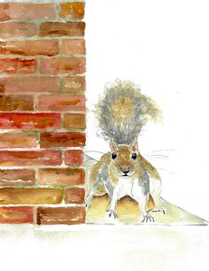 Squirrel art print from original watercolor by HammerToLace