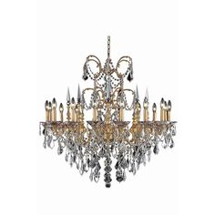 """Athena 35"""" Crystal Chandelier with 16 Lights - French Gold Finish and Clear / Royal Cut Crystal"""