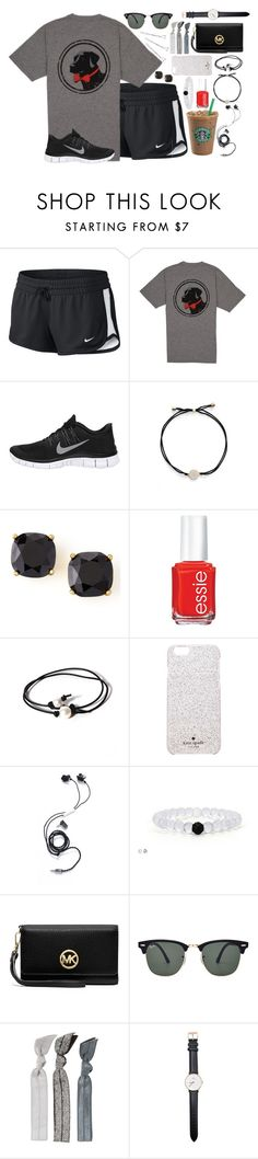 """""""When life gets to hard to stand, kneel"""" by preppy-classy ❤ liked on Polyvore featuring NIKE, Nadri, Kate Spade, Essie, Joie, Molami, MICHAEL Michael Kors, Ray-Ban, Emi-Jay and Daniel Wellington"""