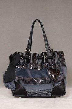 Juicy Couture Sequin Stripe Handbag In Navy.