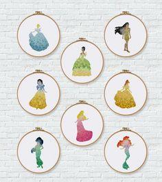 Disney cross stitch pattern geometric princess design Ariel Tiana Cinderella Snow White Aurora Pocahontas Jasmine Belle cross stitch kit by ritacuna thuhadesign