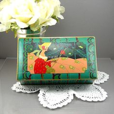 Vintage Tin Box Hinged Lid Art Deco Era by AtticDustAntiques.  I have this exact one and I love anything turquoise
