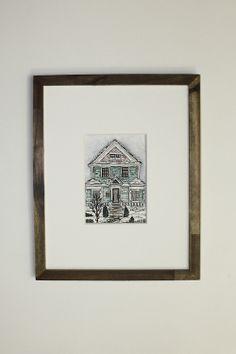 Burch House, 5x7 original gouache illustration , by Erin Vaughan