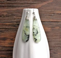 Prehnite earrings handmade earrings handmade by ArtfulHummingbird, $73.00.  www.artfulhummingbird.etsy.com
