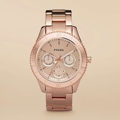 rose gold fossil watch, no diamonds
