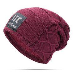 Mens Plus Velvet Thick Warm Knitted Casual Letter Hat. Slouchy Beanie HatsMens  ... cd1da7a3c360