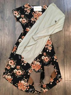 I have the cardigan and these exact booties- the dress is cute!