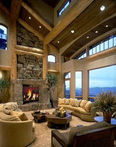 Magnificent view in this log home