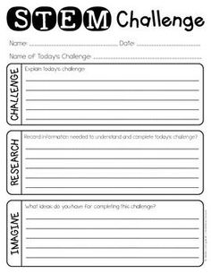 STEM Challenge Lab Sheet {FREEBIE}