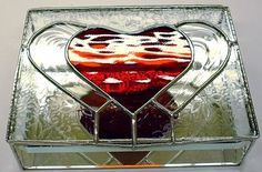 STAINED GLASS Jewelry Box Double Heart by glassmagic on Etsy, $65.00