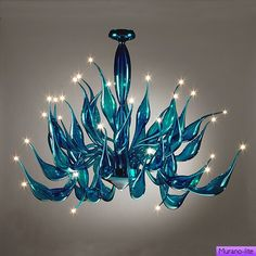 Aladdin Turquoise / Chandelier / Art Deco & XX Century / Murano-lite: 1000 luxurious chandeliers of glass and crystal