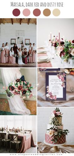 romantic dusty rose and marsala fine art fall wedding colors