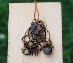 Unique Kitchen Jewelry Wire Wrap Fork and Spoon Pendant Artisan Necklace #Handmade #Pendant