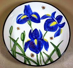 Iris bowl, an old pattern painted by artist Geoff Graham at Cinnabar Ceramics, Vallejo, CA (Formerly Ukiah, CA)