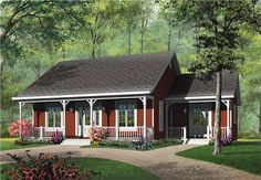 This inviting ranch syle home with country influences (House Plan #126-1552) has over 1140 square feet of living space. The one story floor plan includes 3 bedrooms.