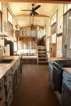 Tiny House Living 60427 Kitchen Living Room and Master Bedroom. Sustainable Architecture with a Tiny House on Wheels. By SimBLISSity. Plan Tiny House, Tiny House Cabin, Tiny House Living, Tiny House Design, Tiny House On Wheels, Living Room, Kitchen Living, Tiny Cabins, Tiny House Stairs