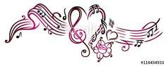 Notenblatt mit Musiknoten, Notenschlüssel und Rose. Pink. Sheet Music with clef and rose. Pink. © Christine Krahl - #christinekrahl #vector - Fotolia/AdobeStock: https://de.fotolia.com/p/201023330  Shutterstock: https://www.shutterstock.com/g/christinekrahl