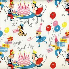 vintage wrapping paper. birthday  gift wrap